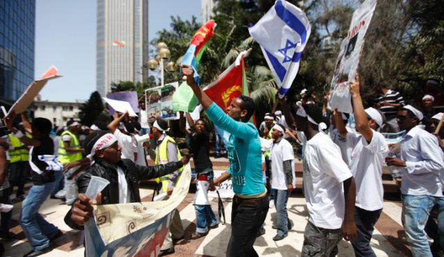 Eritreans protesting outside the Eritrean embassy in Ramat Gan, Israel, May 25, 2012.