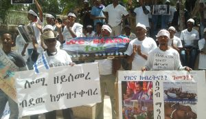 Eritreans in Israel protesting on Eritrean Independence Day. Photo by Moti Milrod
